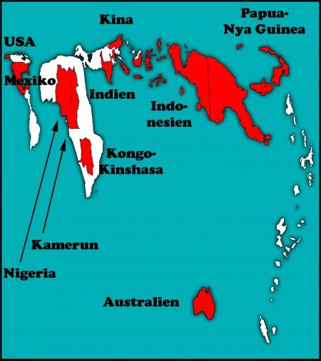 Карта по числу языков