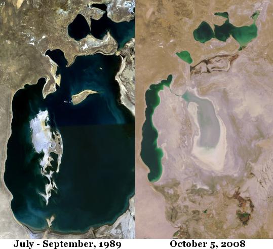 Два космических снимка Аральского моря рядом; 1989 и 2008 годы