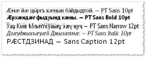 PT Sans: примеры надписей