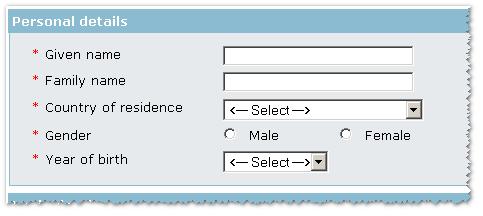 Регистрационная форма требует определиться