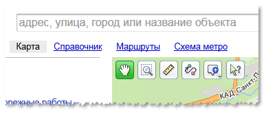 Яндекс. Ссылка на поиск маршрутов