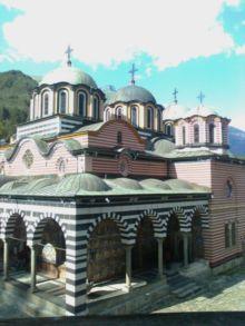 Самый узнаваемый вид Рильского монастыря