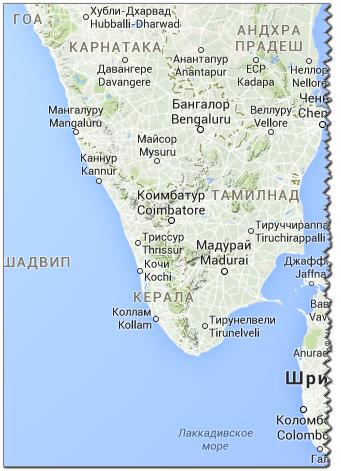 карта Керала, Гоа